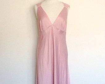 1990s does 40s Pink Blush Floor Length Night Gown Loungewear Vintage