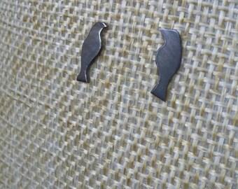 Love Bird Oxidised Stud Earrings