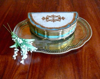 Wooden Florentine Musical Jewelry Box, Gold Gilt Tole Footed Music Box, Blue White Accents, Velvet Lining, Made in Japan, Mother's Day Gift