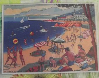 Wall decor, Set of Table 42 x 30 cm tableware trendy nostalgic 1950 Casino Monte - Carlo, Monaco coast Beach