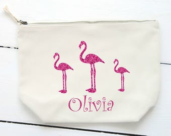 Personalised Cosmetic Bag,Make Up Bag,Storage Bag, Birthday Gift,Girl's Name,Teen Gift,Gift for Her,Canvas Bag,Pink Flamingo, Pink Glitter