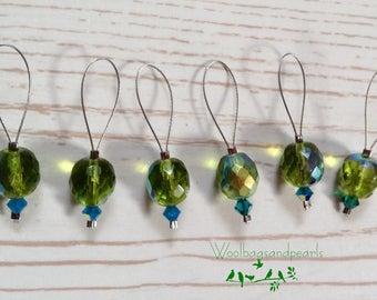 6 Maschenmarkierer 'Grünes Glas', Stitchmarker
