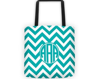 Teal Chevron, Monogram Tote, Sublimation Tote, Brides Tote, Canvas Tote Bag, Bridesmaid Gift, Wedding Tote Bag, Market Tote, Chevron Tote