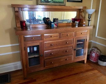 Antique Mission Style Oak Sideboard Cabinet