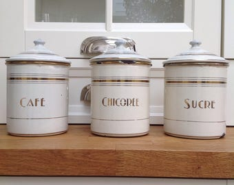Vintage French farmhouse kitchen canisters