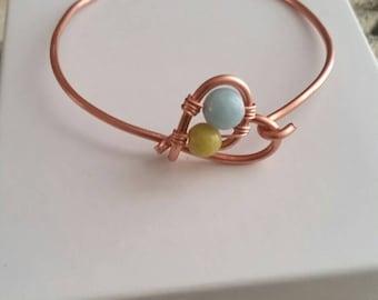 Copper heart and gemstone bangle, amazonite and olive jade copper heart bracelet, boho bangle, gifts for her, gemstone heart bracelet, lapis