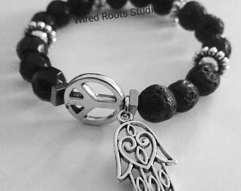 Peace & Luck lava stone essential oil diffuser  bracelet, black onyx lava stone stretch bracelet, peace stone bracelet, unisex gifts, boho