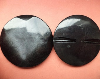 3 large buttons 43mm black (3300) coat buttons jacket buttons