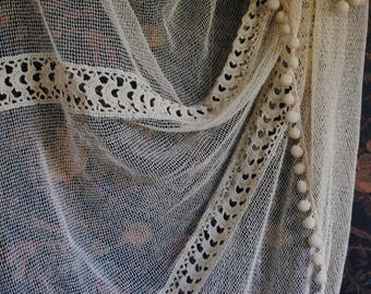 Covers - bed in ecru cotton / hook / 1900