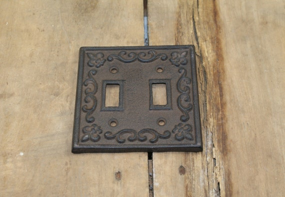 Cast iron double light switch plate cover from