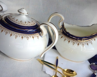 Aynsley Leighton Creamer and Lidded Sugar Bowl, Cobalt Blue White and Gold, Made in England, 1930's