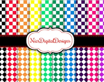 Buy 2 Get 1 Free-20 Digital Papers. Checkers in Rainbow Colours (17C no 1) for Personal Use and Small Commercial Use Scrapbooking