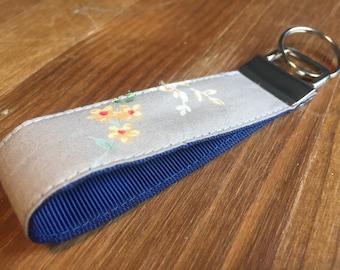 Vintage Style Grey Floral Print Fabric Keyring