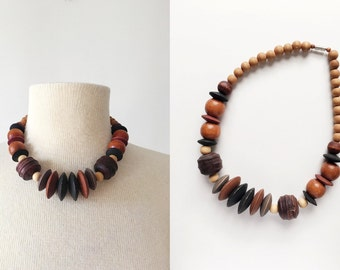 Vintage 80s Brown and Black Chunky Wood Beaded Necklace, Wooden Beads
