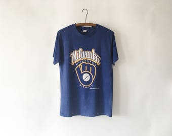 Vintage 80s Blue Milwaukee Brewers Baseball T Shirt