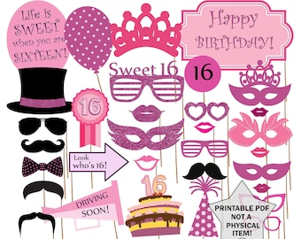 "Sweet 16 Photo Booth  Props: ""SWEET 16 PHOTOBOOTH"" Sweet sixteen props Printable sweet 16 Birthday party props 16th birthday sweet 16 party"