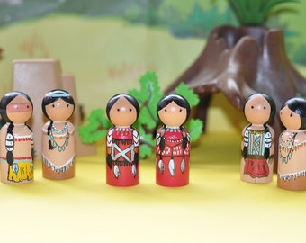 Peg dolls - Indian people - native American - Native Americans - wooden toys