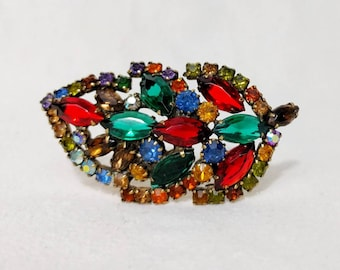 Weiss Leaf Brooch with Multicolored Stones