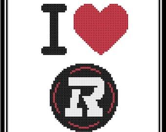 I Love The Ottawa RedBlacks Counted Cross Stitch Pattern (PDF Download)