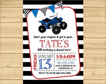 4 Wheeler Invitation, 4 Wheeler Birthday Party Invitation, Four Wheeler Birthday Invitation, ATV Invitation, Quad Invitation, Boys Birthday