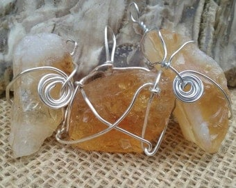 Wire Wrapped Raw Citrine Necklace