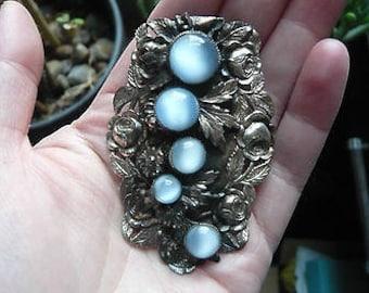 Antique Art Nouveau Moonstone Dress Clip