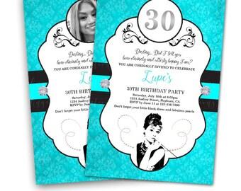 Breakfast at Tiffany's Birthday Invitations & Blank Digital Thank You Card to match