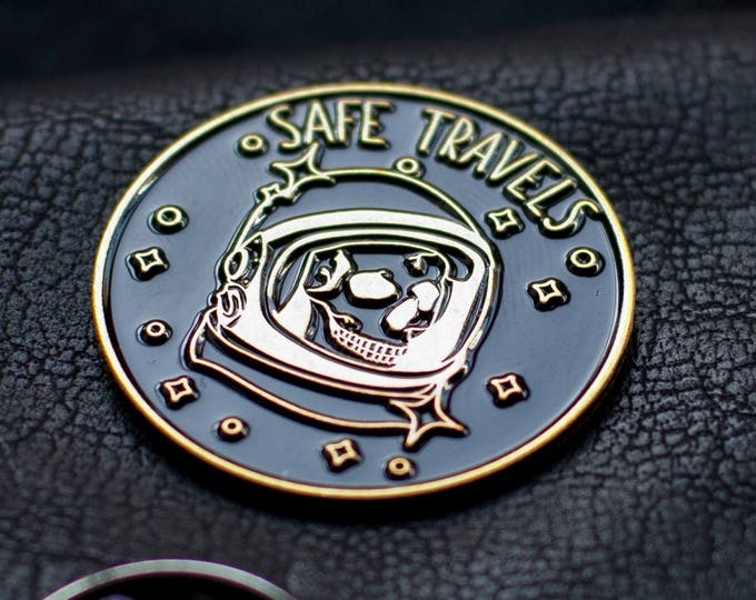 "Featured listing image: Safe Travels - 1.25"" pin (3.175 cm)"