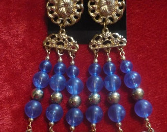 Earrings with Blue Pearl imitation
