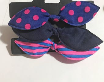 Set of three elastic bow hair tie