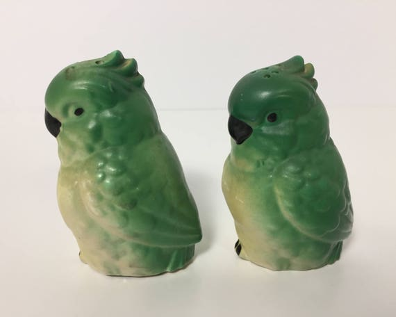 Vintage Novelty Green Parrot Salt And Pepper Shakers Made In