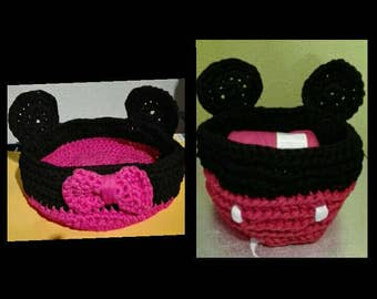 Basket trapillo Micky mouse and minnie