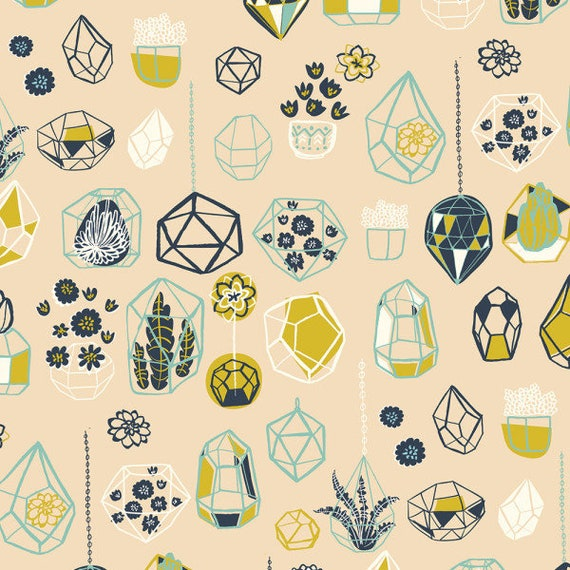 Hidden Garden by Miriam Bos for Birch Fabrics - One Yard -  HANGING TERRARIUM SHELL  - Quilters Cotton- Fabric by the Yard