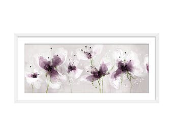 Floral Art Print. Flower Print. Flower Painting. Floral Painting. Purple Print. Wall Art. Wall Decor