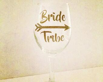 Bride Tribe, Wine Glasses, bridal party wine glasses, personalized wine glasses, personalized wine glasses, weddings, team bride,