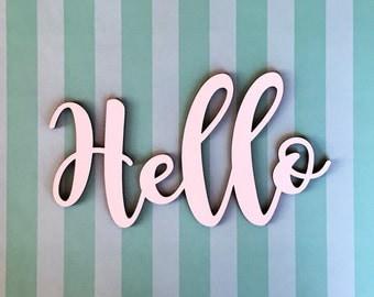 Hello Wood Sign, Hello Cutout, Wood Cutout, Wreath Embellishment, Greeting Decor, Wood craft words, Door hanger, Greetings, wood decor