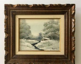 Vintage original Painting Winter Scene Cabin