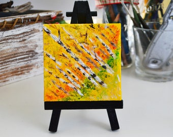 Autumn Birch - Mini Painting with Easel