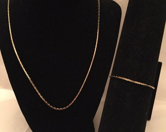 Gold Chain Necklace and Bracelet Set