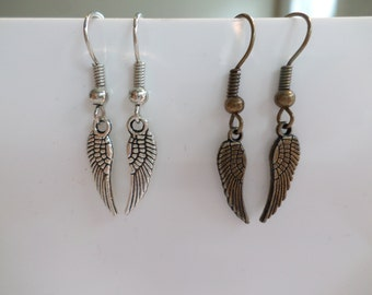 Wing earrings silver / bronze