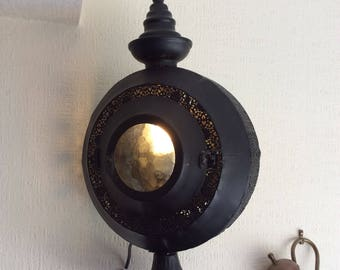 Dramatic handmade 'Arabian nights' black lantern lamp
