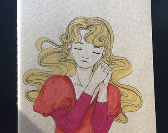 Moleskine sketchbook with artwork on the cover / cute girl marker type
