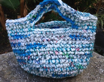 Recycled Plastic Bags Crochet Charming Tote handmade with Plarn & Yarn White Turquoise