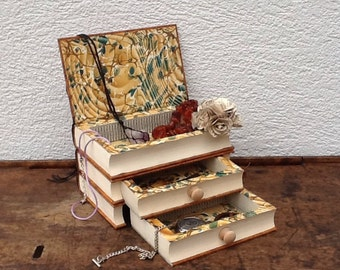Book jewellery box  hollow book safe  book stack keepsake box  upcycled recycled repurposed book art altered book art