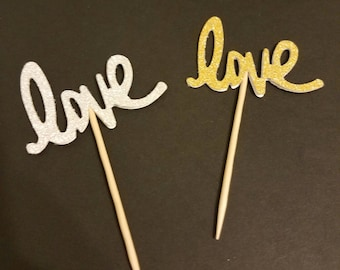 Love Cupcake Toppers, Gold or Silver Cupcake Toppers, Weddings, Anniversaries, Birthdays, Baby Showers, Bridal Showers, Food Picks