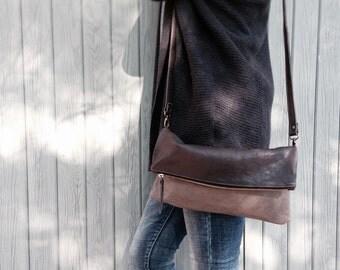 Foldover Leather Bag