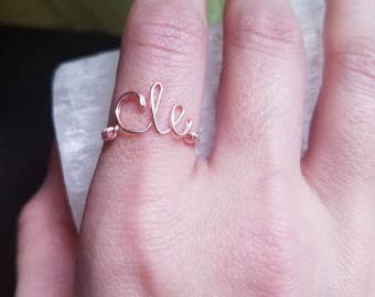 Wire Script Ring - City Jewelry - Written Jewelry - Calligraphy Ring - Word Art - Cavs Jewelry - Special Gifts - Custom Made Wire Jewelry