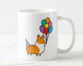 Birthday Celebrations Corgi 11oz or 15oz Ceramic Mug | Choose Red, Red Tri-Color, Tri-Color | Cute Coffee Mugs | Corgi Lover