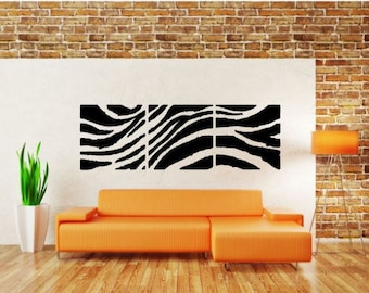 "3 Panel Vinyl Wall Decal, Zebra Pattern, Choose From Many Colours, Overall Size 40"" x 12"""