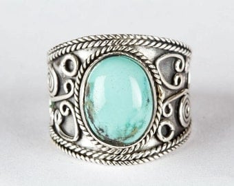 Turquoise Ring, Natural Turquoise Gemstone Pure 925 Sterling Silver Ring, Boho Ring, Wide Ring, Gypsy Ring, Bohemian Ring